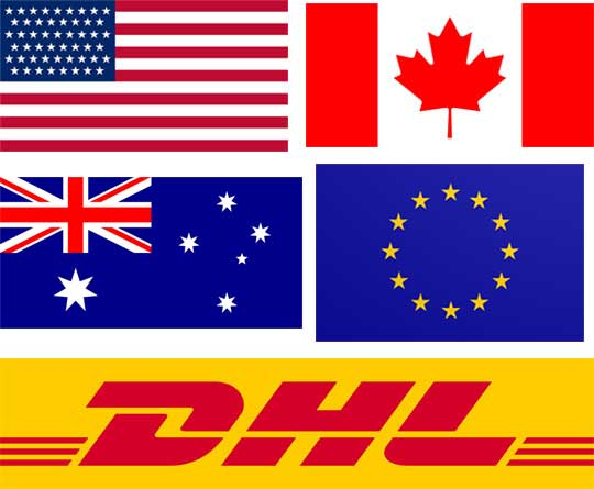 DHL delivery to USA, Canada, Australia, Europe
