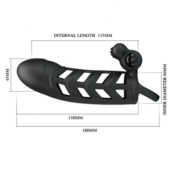 Pretty Love Male Sex Toy Silicone Vibrating Cock Extended Sleeve BI-026237